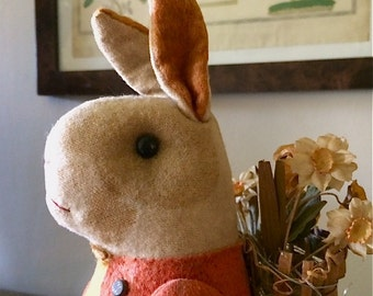 Antique Stuffed Rabbit with Wicker Basket