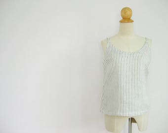 Minimal Linen White Top, Minimalist Clothing, Sleeveless Top, Linen Camisole, Petite Clothing, Summer Top