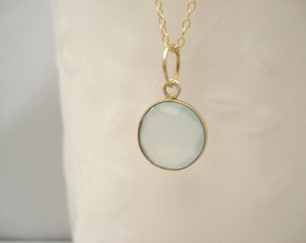 Chalcedony or Rainbow Moonstone necklace...Genuine semi precious gem stone jewelry, simple necklace, bridal jewelry, bridesmaid gift