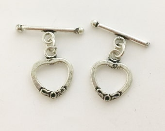 Handmade Silver Toggle Clasp Hand Made Clasp - Heart Shaped Silver Toggle Rustic clasp