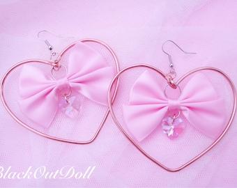 Sweet Heart Bow Kawaii Lolita Harajuku Cute Heart Hoop Crystal Wire Wrap Earrings