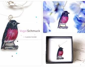 Bird necklace, pink breasted bird, passerine bird, pink, black, bird chain, Pink Robin, ooak, pink-black, gift for her, valentines day gift
