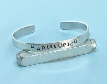 Rise Up - Alexander Hamilton Inspired Cuff Bracelet, Musical Jewelry - Gift Under 20
