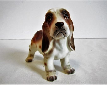 Vintage Ceramic Napcoware Bassett Hound  Dog Knick Knack Figurines Statues Gifts For Dog Lovers Owners