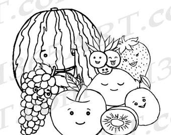 kawaii fruit coloring pages | Kawaii fruit clipart | Etsy
