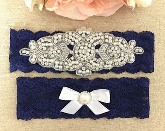 Wedding Garter - Navy Blue Bridal Garter - Pearl and Crystal Rhinestone Garter and Toss Garter Set