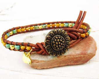 Sunflower Single Leather Wrap Bracelet ~ Seed Bead Bracelet ~ Sunflower Bracelet with Bird - Organic Boho Wrap Bracelet