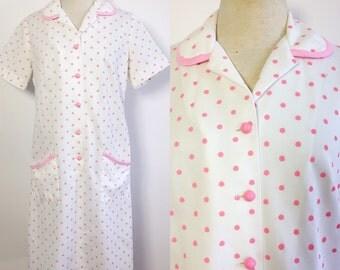 Vintage Polka Dot Dress / Pink Polka Dot House Dress / Hairspray Dress / Vintage Diner Dress / Waitress Dress / Polyester Dress Large