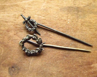 Victorian Mourning Stick Pin - Memorial Wreath Stick Pins - Mourning Jewelry