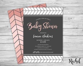 Pink Gray Baby Shower Invitation - Herringbone Ombre - Digital Invitation PDF or JPG