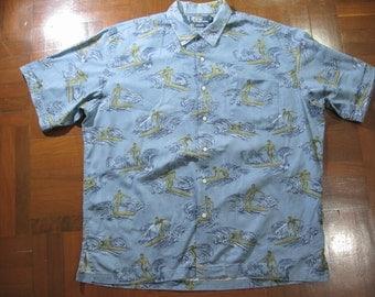 Vintage 1990s Polo Ralph Lauren Surf Hawai Western Pocket Shirt Clayton Cotton Sleeved Cowboy Retro Work Worker Shirt Men M