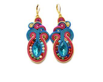 Magic unique earrings soutache, boucles d'oreilles soutache,orecchini soutache
