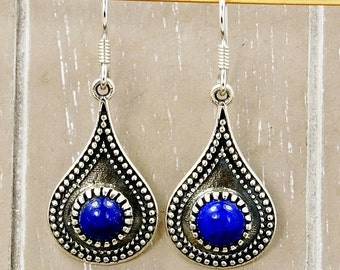 Mystic Princess Lapis Lazuli Earrings & Sterling Silver Dangle Earrings AE948 The Silver Plaza