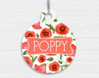 Poppy Dog Tag, Flower Pet Tag, Dog Name Tag | Personalised Pet Tag