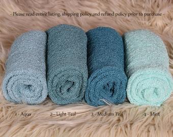 SALE-Newborn Stretch Knit Wrap - Photo Prop - BLUE/GREENS