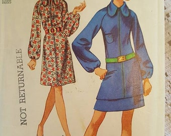 Vintage Misses Dress or Mini-Two-Piece Dress Sewing Pattern Simplicity Jiffy 8959 Size 20 Cut, Counted, Complete