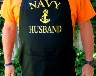 Navy Husband Apron - Kitchen, BBQ Apron - Navy Husband Father's day Gift