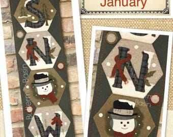 """Pattern: A Year of Hexi """"WORD"""" Door Greeters - January """"SNOW"""" by Buttermilk Basin"""