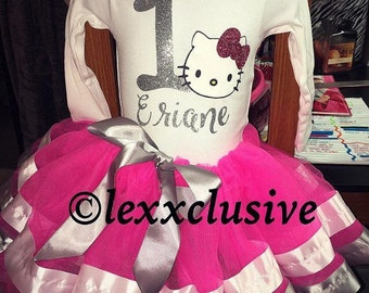 Hello Kitty Birthday Girl Outfit Ribbon Trim Tutu Any character or colors Available