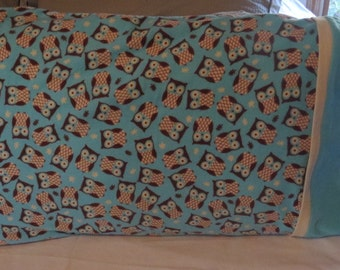Cotton Flannel Pillow Cases, Owl Flannel Pillow Cases, Standard Size Pillow Cases, Owl Pillow Cases