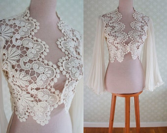 70s wedding bride top. Boho 70s bride.  Fine crochet top with sheer accordion pleat bell sleeves.