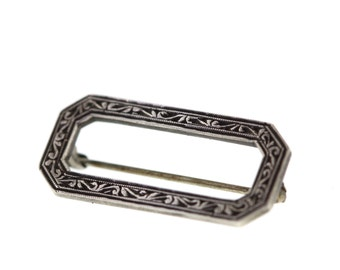 Vintage Sterling Silver Hand Chased Scroll Pin Brooch