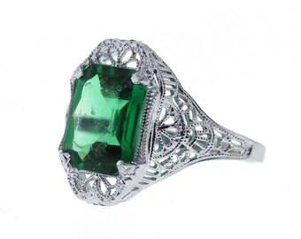 Art Deco Emerald Ring, Vintage Filigree Emerald Ring, White Gold Imitation Emerald Ring