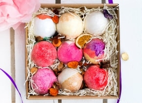Bath Bomb Gift Box - 9 Rituals - Handmade Gift - Pamper gift - Natural - Bridesmaid - Gift For Her - Gift Idea - Birthday - Valentines - Spa
