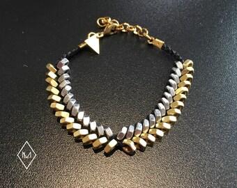 Bracelet braided Steel Brass