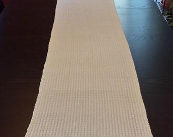 Handwoven Cotton Table Runner Cream Color Swedish Weave
