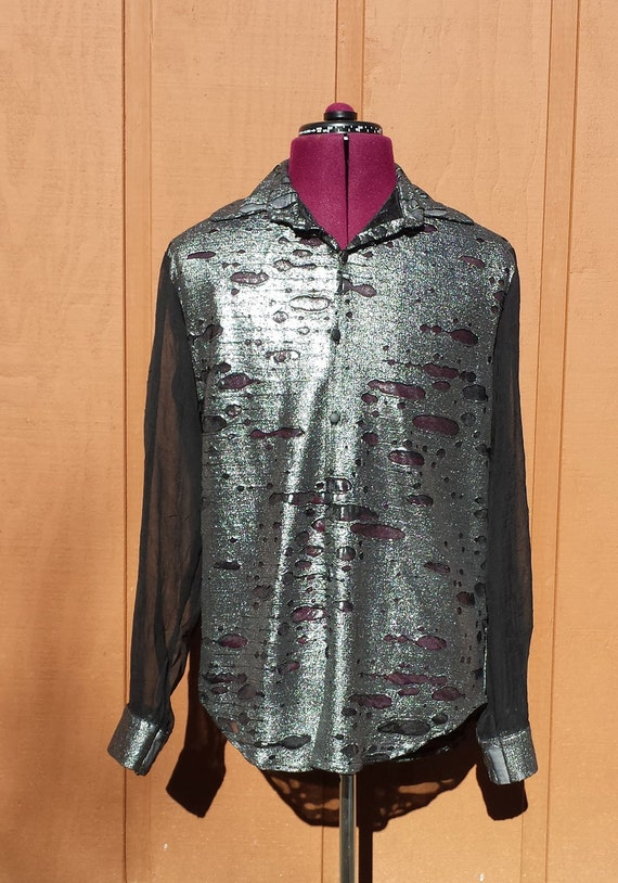 Items similar to melting metal black gauze button down for Gauze button down shirt