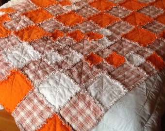 Orange flannel Rag throw