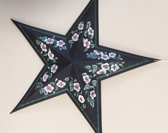 """24"""" Hand Painted Black Barn Star with Dogwood Blooms"""