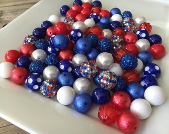 100 Piece Bulk Lot, 20mm Chunky Beads, Acrylic Assortment, Red White and Blue, DIY Mix Wholesale Lot, Rhinestone, Crinkle, Pearl, Solids