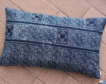 Blue Navy Nautical VINTAGE Hand Woven HEMP HMONG Pillow Ethnic A Piece Of Tribal Textile Batik Hand Print Indigo Lumbar Pillow Case in06