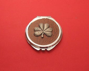 Shamrock Pewter Motif On Brown Round Compact Mirror St Patrick's Day Irish Good Luck Gift Christmas Gift