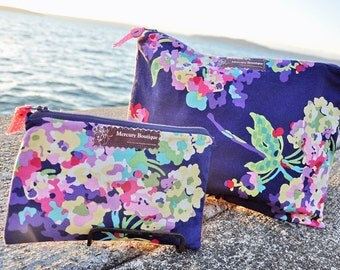 Navy Floral Waterproof Makeup and Travel Bag