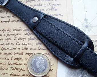 16mm French style BLACK Leather Watch BAND STRAP with Rivet 60 70s for Retro watches Olma Venus Marox bracelet watch Onyx Vostok Raketa Rado
