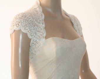 Ivory kntting crochet shrug/ Wedding bolero shrug//Bolero jacket/Lace shrug/Bridal shoulders cover/Bridesmaids Cover up Bolero