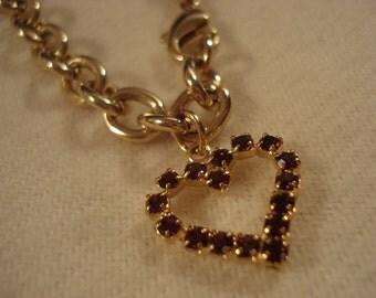 SALE!! HEART BRACELET Gold Tone Vintage Swarovski Crystal A+ Condition So Pretty!