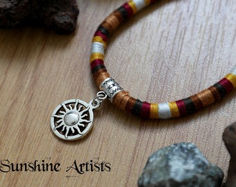 Friendship bracelet, anklet-NATIVE AMERICAN-Tibetan silver-Soleil sun charm-Hand wrapped-embroidery thread-warm earthy colours-clasp fasten
