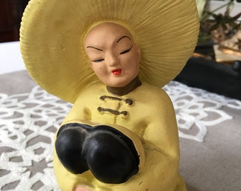 Vintage Chalk Chalkware Asian Woman Man with Coolie Hat