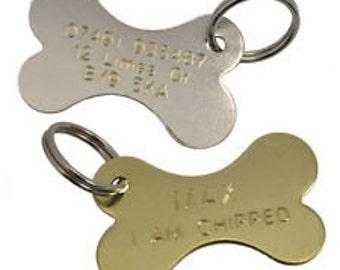 Brass Bone Dog ID Tag