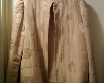 Vintage Silk Jacket/Asian Silk Jackets/Quilted Silk Jacket/1970s Vintage Gold and Silver Silk Jacket
