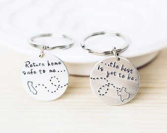Long Distance Love State Keychain - Usa keychain, Personalized, Choose Your States Set Miss Your Face