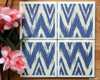 Ceramic Tile Coasters - Coaster Set - Table Coasters - Blue Coasters - Coaster - Tile Coaster - Chevron Decor - Coasters for Drinks