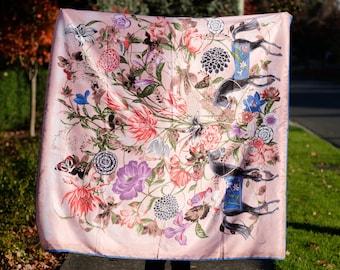 Pastel Pink Floral Silk Scarf