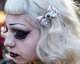 Blood spatted bows with bloody eyeballs - Psychobilly, rockabilly, horror, gore.
