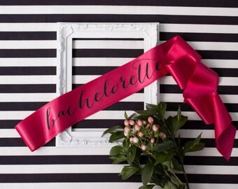 Bachelorette Sash - Black on Pink