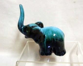 Blue Mountain Pottery Mini Elephant Green Glaze